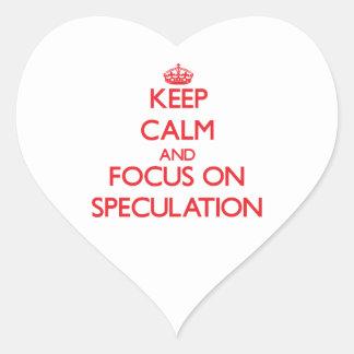Guarde la calma y el foco en la especulación pegatina corazon
