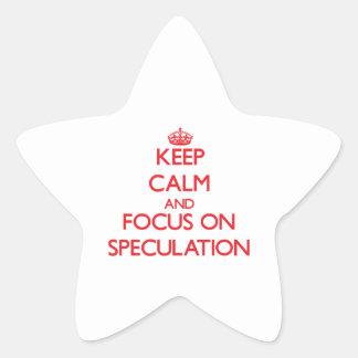 Guarde la calma y el foco en la especulación pegatinas forma de estrellaes