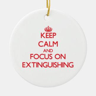 Guarde la calma y el foco en la EXTINCIÓN Adorno Para Reyes