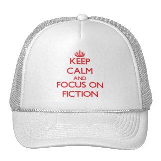 Guarde la calma y el foco en la ficción gorros