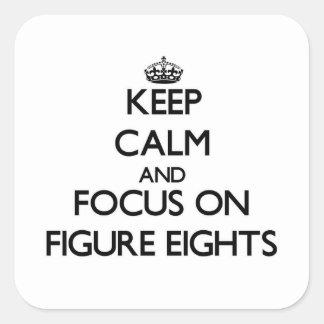 Guarde la calma y el foco en la figura Eights Calcomania Cuadrada Personalizada