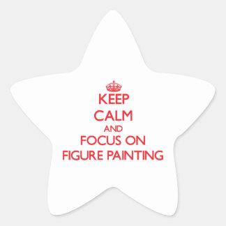 Guarde la calma y el foco en la figura pintura calcomanías forma de estrellaes