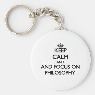 Guarde la calma y el foco en la filosofía llavero