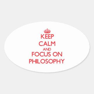 Guarde la calma y el foco en la filosofía pegatinas ovaladas