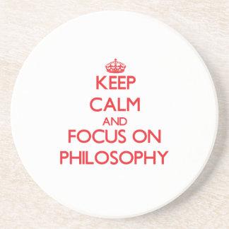 Guarde la calma y el foco en la filosofía posavasos cerveza