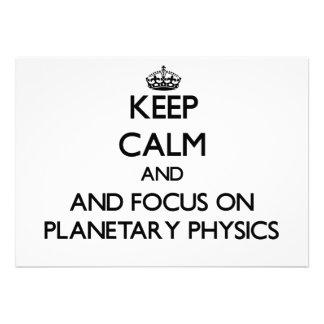 Guarde la calma y el foco en la física planetaria comunicado