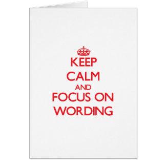 Guarde la calma y el foco en la fraseología tarjeta de felicitación