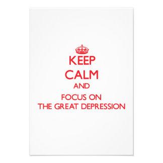 Guarde la calma y el foco en la Gran Depresión Comunicados