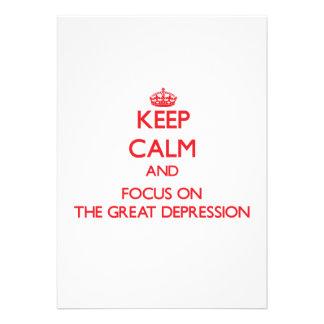 Guarde la calma y el foco en la Gran Depresión Comunicados Personalizados