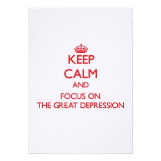 Guarde la calma y el foco en la Gran Depresión Comunicado