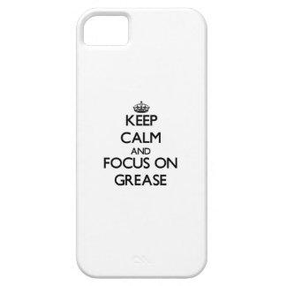 Guarde la calma y el foco en la grasa iPhone 5 carcasa