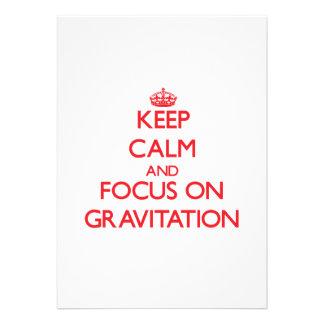 Guarde la calma y el foco en la gravitación