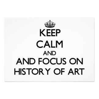 Guarde la calma y el foco en la historia del arte invitacion personalizada