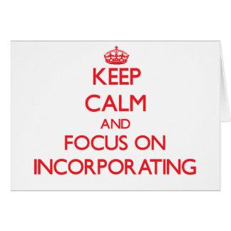 Guarde la calma y el foco en la incorporación tarjeta de felicitación