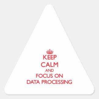 Guarde la calma y el foco en la informática colcomanias de trianguladas