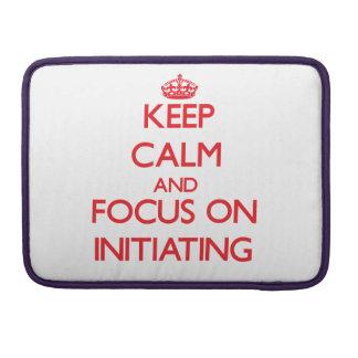 Guarde la calma y el foco en la iniciación funda para macbooks