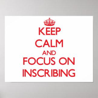 Guarde la calma y el foco en la inscripción impresiones