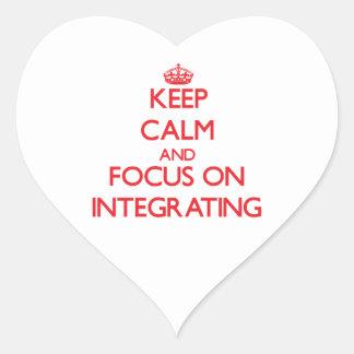 Guarde la calma y el foco en la integración pegatina corazón personalizadas