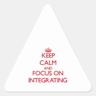 Guarde la calma y el foco en la integración pegatinas trianguloes