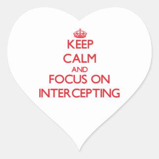 Guarde la calma y el foco en la interceptación colcomanias de corazon personalizadas