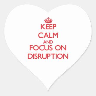 Guarde la calma y el foco en la interrupción pegatinas corazon personalizadas