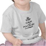 Guarde la calma y el foco en la madera de camisetas