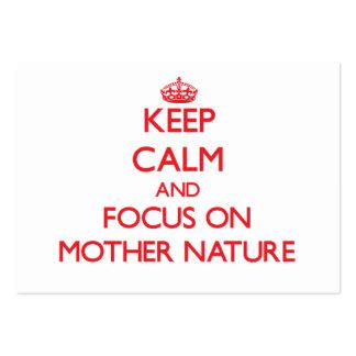Guarde la calma y el foco en la madre naturaleza plantillas de tarjeta de negocio