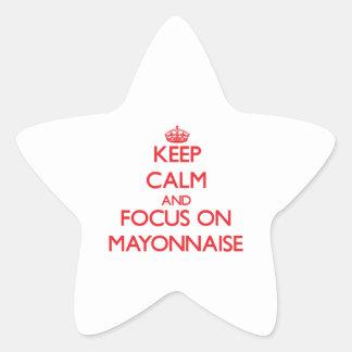 Guarde la calma y el foco en la mayonesa pegatinas forma de estrella personalizadas