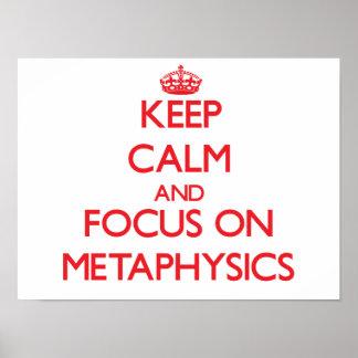 Guarde la calma y el foco en la metafísica poster