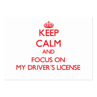 Guarde la calma y el foco en la mi licencia de con plantilla de tarjeta de negocio