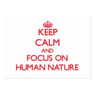 Guarde la calma y el foco en la naturaleza humana plantilla de tarjeta de visita
