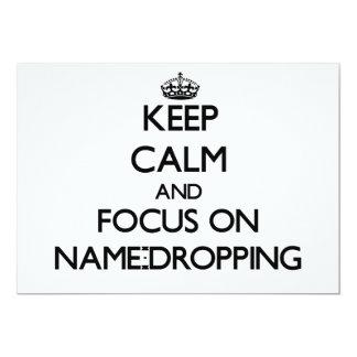 Guarde la calma y el foco en la Nombre-Caída Invitación 12,7 X 17,8 Cm