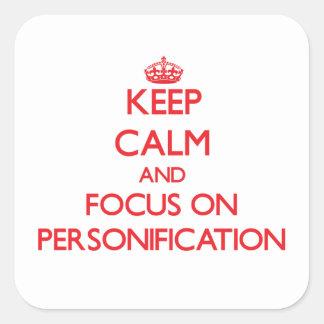 Guarde la calma y el foco en la personificación pegatinas cuadradases personalizadas