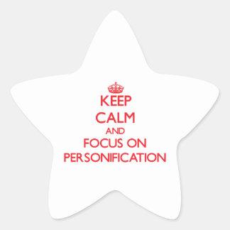 Guarde la calma y el foco en la personificación pegatinas forma de estrella personalizadas