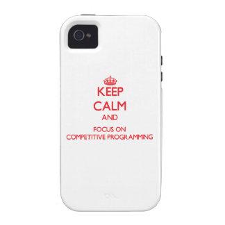 Guarde la calma y el foco en la programación compe vibe iPhone 4 carcasa