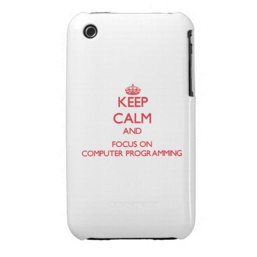 Guarde la calma y el foco en la programación infor iPhone 3 cárcasa