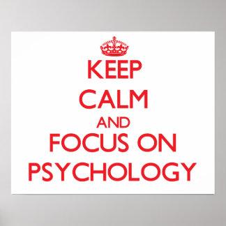 Guarde la calma y el foco en la psicología póster