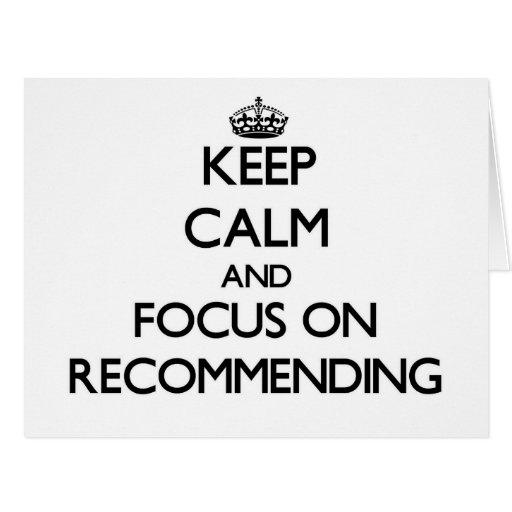 Guarde la calma y el foco en la recomendación felicitacion