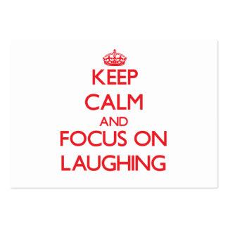 Guarde la calma y el foco en la risa plantillas de tarjetas de visita