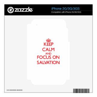Guarde la calma y el foco en la salvación skins para eliPhone 3GS