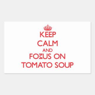 Guarde la calma y el foco en la sopa del tomate rectangular altavoz