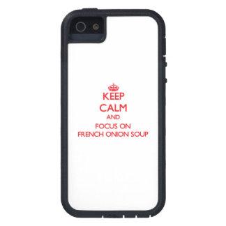 Guarde la calma y el foco en la sopa francesa de iPhone 5 Case-Mate protectores