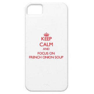 Guarde la calma y el foco en la sopa francesa de iPhone 5 Case-Mate cárcasas