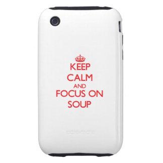Guarde la calma y el foco en la sopa tough iPhone 3 coberturas