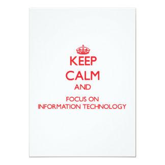 """Guarde la calma y el foco en la tecnología de la invitación 5"""" x 7"""""""
