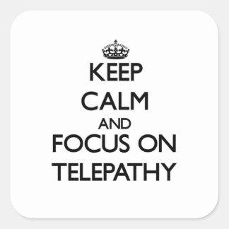 Guarde la calma y el foco en la telepatía colcomanias cuadradas
