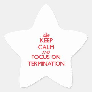 Guarde la calma y el foco en la terminación calcomanía cuadrada personalizada