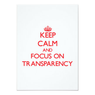 Guarde la calma y el foco en la transparencia invitación 12,7 x 17,8 cm