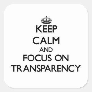 Guarde la calma y el foco en la transparencia pegatina cuadrada