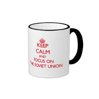 Guarde la calma y el foco en la Unión Soviética Taza De Café